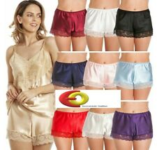 SATIN & LACE FRENCH KNICKERS PURPLE WHITE RED BLACK IVORY NAVY PINK PALE BLUE