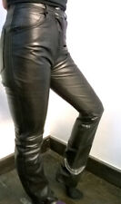 Calculus London Shiny Genuine Leather Biking Rock Unisex Hipster Black Trousers