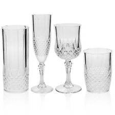 6 x Crystal Effect Plastic Wine Drinking Glasses Tumblers Champagne Flutes Party