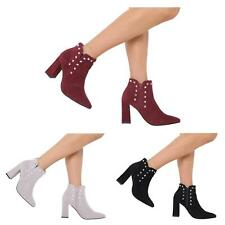 NEW WOMENS LADIES STUDDED BLOCK HEEL CHELSEA ANKLE BOOTS SHOES SIZE 3-8