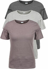 JACQUELINE de YONG by ONLY Linn Damen T-Shirt Streifenshirt O-Neck Volant