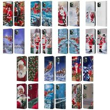 THE MACNEIL STUDIO SANTA CLAUS LEATHER BOOK WALLET CASE FOR APPLE iPHONE PHONES