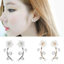 Women Fashion Jewelry Shell Pearl Flower Ear Studs Alloy Crystal Earrings Gift