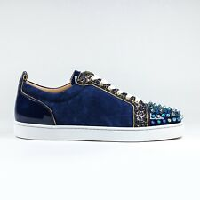 100% Authentic Christian Louboutin Louis Junior Spikes Suede Aliglitter Blue