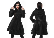 POIZEN INDUSTRIES BLACK ROSE GOTHIC BOWS CORSET STYLE HOODED ALICE COAT