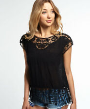 New Womens Superdry Lacy Schiffli Cape Top Black
