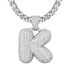 Custom Bubble Letter K Initial Pendant Sterling Silver Iced Out Comes With Chain