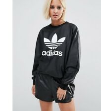 ADIDAS ORIGINALS LEATHER LOOK TREFOIL SWEATSHIRT  BNWT SIZE UK 10  SALE TODAY!