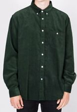 Green Corduroy Long Sleeve Button Down Men's Shirt - Cotton -Pop England