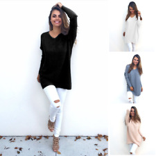 Women V Neck Jumper Knitted Sweater Loose Blouse Pullover Outwear Shirt Coat Top