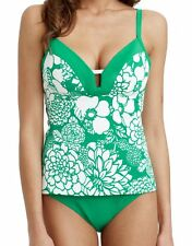 Freya Fortune Tankini Top 3040 Soft Cup Plunge Apple Green White Floral 32D NEW