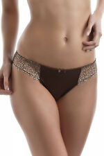 Ladies Chantelle Icone Brief Knicker Brown Leopard Lace Lingeie 2223 UK XS NEW