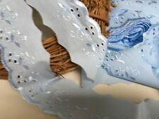"""Bows Ribbon and Lace~ 2""""/5cm Baby Blue Cotton Broderie Anglaise Lace Trimming"""
