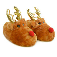 Slumberzzz Children's Novelty Christmas Rudolph Reindeer Slippers, Brown/Red
