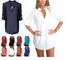 Women's Casual Front V Neck Cuffed Sleeves Solid Chiffon Blouse Top Shirts CS