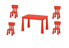 IKEA MAMMUT CHILDRENS KIDS GARDEN INDOOR OUTDOOR TABLE AND 4 CHAIRS