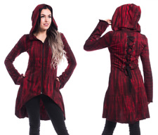 INNOCENT LIFESTYLE RED BLACK GOTHIC CORSET STYLE BACK TIE DYE HOODED TOP