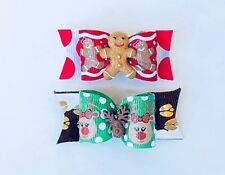 Dog Hair Bows- Christmas Rudolph Reindeer Dog Bow Cookies Dog Bow Double Elastic