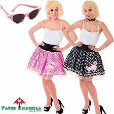 ANNI 50 ROCK N ROLL Costume barboncino gonna nero pois rosa addio al nubilato