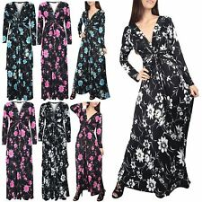 Women Ladies Plunge V Neck Floral Roses Summer Front Tie Knot Twisted Maxi Dress