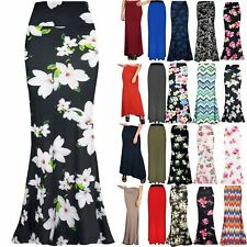 Women Gypsy Long Jersey Ladies Floral Printed Flared High Waist Maxi Dress Skirt
