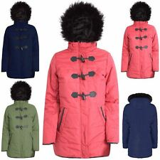 Womens Ladies Fur Toggle Padded Parka Coat Zip Up Hooded Duffle Quilted Jacket