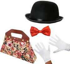 CHILD VICTORIAN NANNY COSTUME SET BAG HAT BOW TIE GLOVES FANCY DRESS OUTFIT