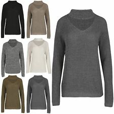 Womens Ladies Chunky Knit Choker V Neck Oversize Pullover Keyhole Cut Jumper Top