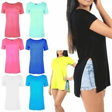 Ladies Plain Cap Sleeve Round Neck Women's Side Split Slit High Low T Shirt Top