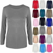 Womens T Shirt Ladies Plain Casual Long Sleeve Fit Round Neck Tee Top Plus Size