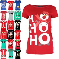 Womens Xmas Short Sleeve Snowman Hat Muffler HOHOHO Christmas T Shirt Mini Top