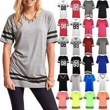 Womens Ladies Stripe Baseball Oversized Top Cap Sleeve Sports Pullover T Shirts