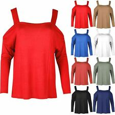 Women's Ladies Cold Cut Shoulder Wide Strap Oversized Bardot Baggy T-Shirt Top