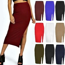Womens Side Split Midi Skirt Ladies Casual Pencil Slit Stretch Bodycon Plus Size