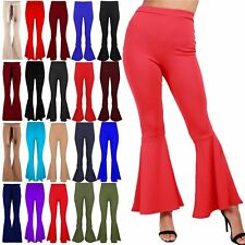 Ladies Womens Ruffle Frill Bell Bottom Trousers High Waisted Palazzo Cigarette