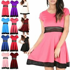 Womens Ladies Cap Sleeve Party Swing Skater Waist Lace FishNet Dress Plus Size