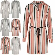 Womens Ladies Crepe Stripe Cuffed Long Sleeve Collared Belt Button Shirt Dress