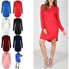 Womens Ladies Long Sleeve Collar Curved Hem Front Button Baggy Mini Shirt Dress
