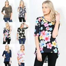 Womens Ladies T Shirt 3/4 Sleeve Round Neck Printed High Low Hem Stretchy Top