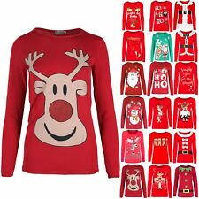 Womens Ladies Full Sleeve Christmas Santa Snowman Snowflake Stretchy T Shirt Top