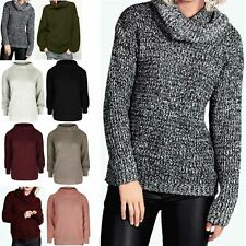 Womens Chunky Knit Full Sleeve Jumper Ladies Oversized Roll Cowl Neck Jumper Top
