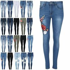 Womens Ladies Distressed Destroyed Rip Embroidery Stretch Skinny Fit Denim Jeans