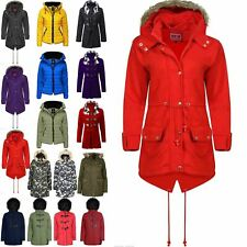 Womens Ladies Fleece Faux Fur Hooded Zip Up Pocket Trench Fishtail Parka Jacket