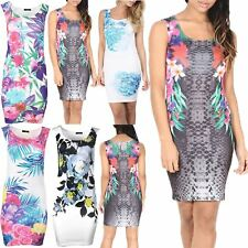 Womens MultiFloral Print Cocktail Evening Bodycon Ladies Summer Party Dress