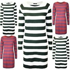 Womens Contrast Stripes Knitted 2 Tone Ladies Round Neck Long Sleeve Mini Dress