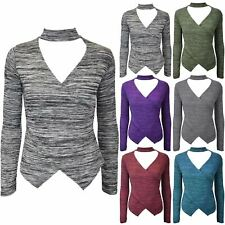 Womens Ladies Choker V Neck Wrap Over Keyhole Cut Marl Knitted Long Sleeve Top