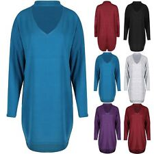 Womens Ladies Choker V Neck High Low Oversized Baggy Marl Knit Long Sleeve Top