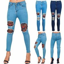 Womens Ladies Destroy Rip Distressed Knee Cut Skinny Rose Embroidery Denim Jeans