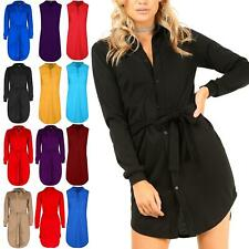 Women Ladies Collared Curved Hem Long Sleeve Button Down Belted Mini Shirt Dress