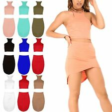 Ladies Womens High Neck Cropped Top Racer Front High Low Mini Skirt Co Ord Set